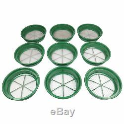 9 pc Green Plastic Gold Classifier Sifter Pan Set Stackable 11 Diameter