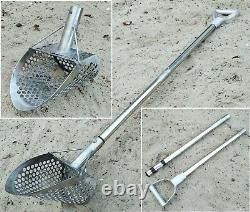 Beach Metal Detecting Sand Scoop Hunting Shovel +Travel Handle Pole MONSTR CooB