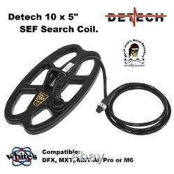 Detech 10x5 SEF Search Coil for Whites DFX, MXT, MXT All Pro, M6 Metal Detector