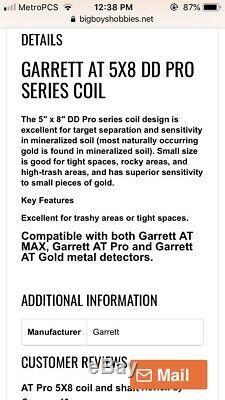 Garrett AT Pro Gold Max 5x 8 5x8 DD Metal Detector Coil