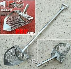 Metal Detecting Sand Scoop Hunting Tool Shovel +Collapsible Handle Shark v10 PRO