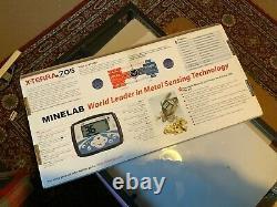 X-terra 705 minelab metal detector black used with accessories